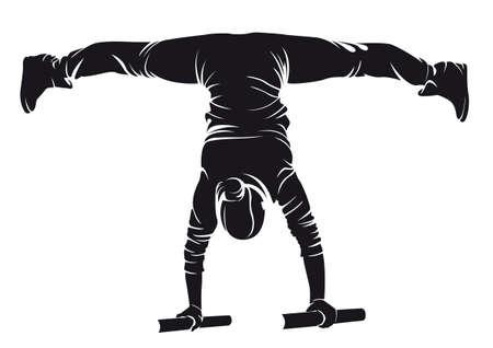 Sportieve vrouw doet oefening in de straat oefening. Handstand. Vector illustratie. Stock Illustratie
