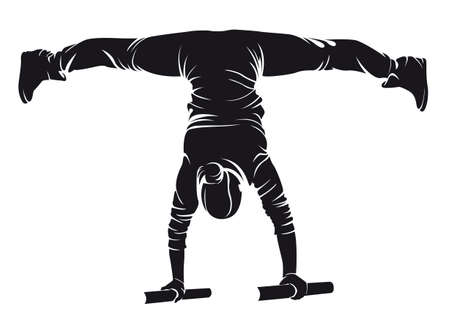 Sporty female doing street workout exercise. Handstand. Vector illustration.