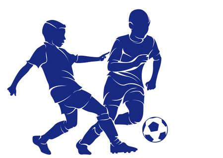 Children playing football Illustration