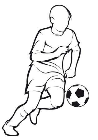 Child plays football Illustration