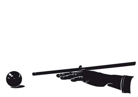 De handspeler van het biljart met balsilhouet, op wit wordt geïsoleerd dat