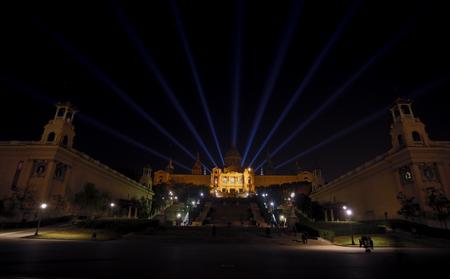 barsa: Plaza Espana in Barcelona night, aerial view Editorial