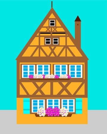Europese huis vectorillustratie Stock Illustratie