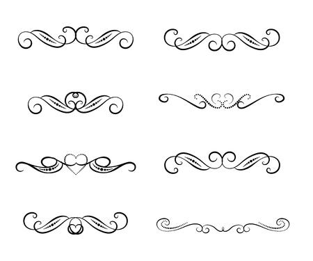 Set of decorative florish dividers, borders Vector Illustration