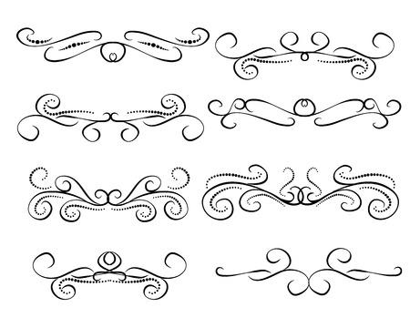 Set of decorative florish dividers, borders Vektoros illusztráció