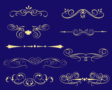 Set of decorative florish dividers, borders Illustration