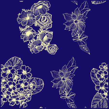 Seamless pattern with golden flowers. Anemona. Primula. Clematis. Ilustração