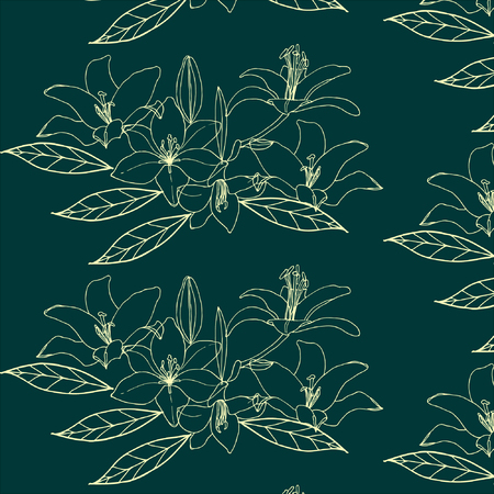 Seamless pattern with gold flower. Lilia.