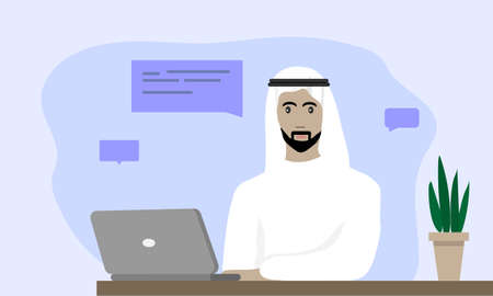 Arabian Man Work From Home, Color vector illustration in flat cartoon style.