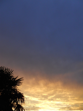 backlights: sunset with clouds blue