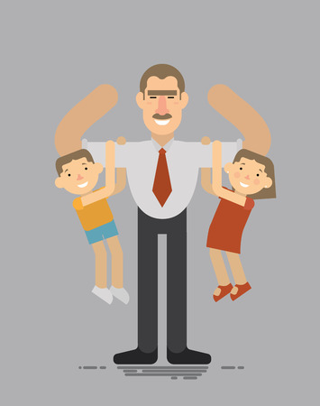 super dad: Fathers day, A father holding his son and daughter, the best father, a good father amuses your children flat style Illustration