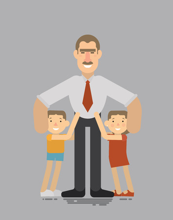 him: Fathers day,Good father hugs his loving children, they hug him back Illustration