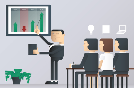 business class: easy to edit illustration of business presentation class, businessman pointing at a board at a presentation, business man presentation on work project, businessman in conference Illustration
