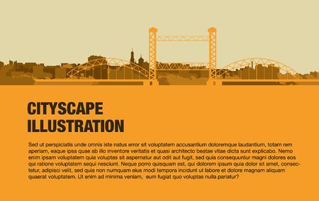 urban , yellow bridge on the background of the city