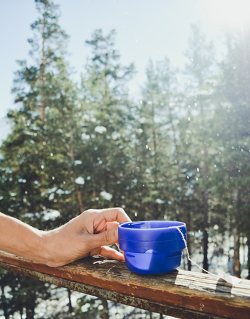 breakfast with tea on a nature Stock Photo