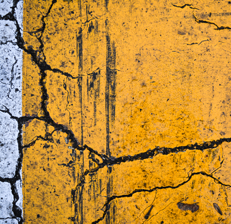 cracked asphalt yellow white, composition texture minimalism conceptualism art photo background
