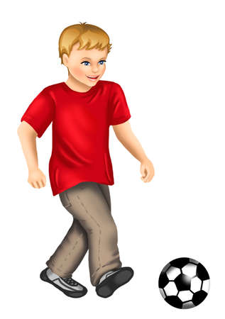 Blonde boy is playing football