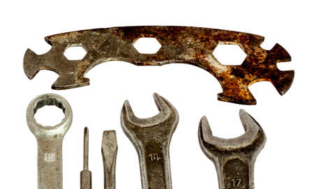 spaner: isolated set of old tools with spanners and screwdrivers Stock Photo