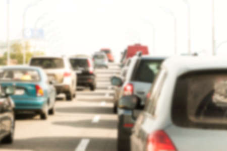blurred traffic jam can be used as background Stock Photo