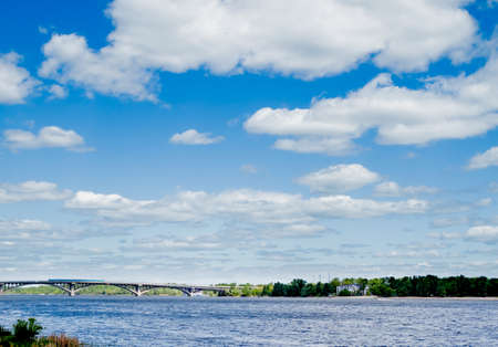 dnipro: blue cloudy sky over Dnipro river in Kiev Ukraine
