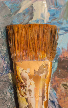 artist: oil paints and brushes can be used as background Stock Photo