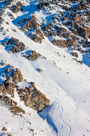 offpiste: ski trails off-piste can be used as background