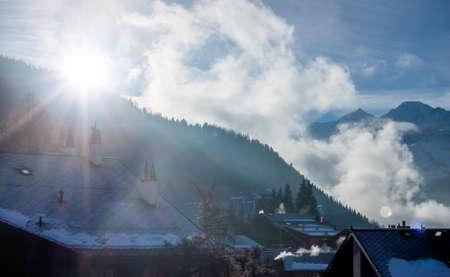 winter sunrise: winter sunrise in mountain Switzerland village Verbier Stock Photo