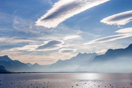 vevey: View on Alps from shore of Geneva Lake at Vevey Stock Photo