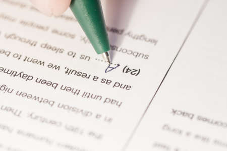 gaps: language test paper with word filling gaps Stock Photo
