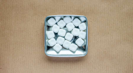metal box: mint sweets in metal box against the craft background