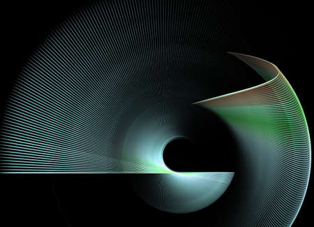 rotational: abstract rotational fractal texture on black background Stock Photo