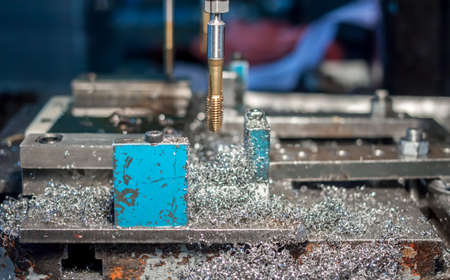 metal drilling and tapping Stock Photo