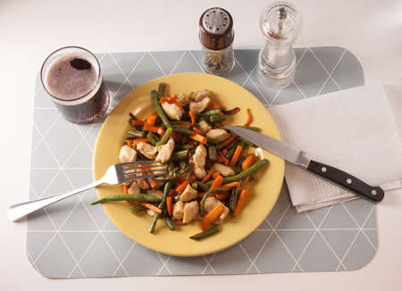 vegetables with meat on yellow plate eating at home