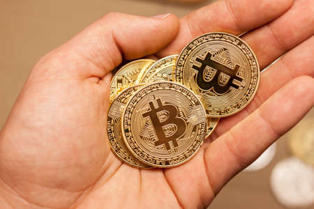golden bitcoin coins in the hand