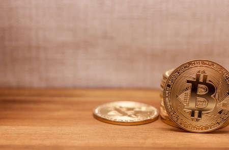 golden bitcoin coins