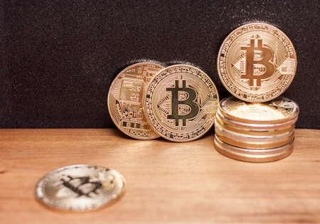 golden bitcoin coins pile