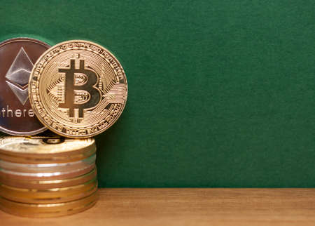 golden bitcoin andethereum coins Stock Photo
