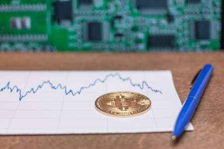bitcoin coin pen and chart