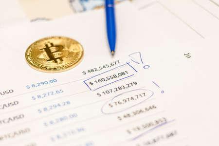 bitcoin ethereum litecoin coin pen and chart