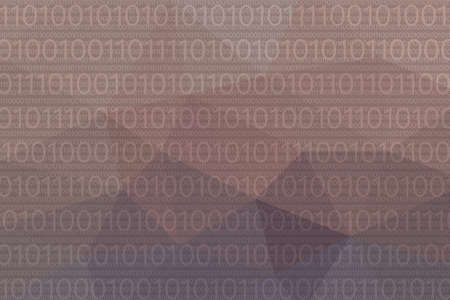 polygonal abstract violet background with 01 or binary data Stock Photo