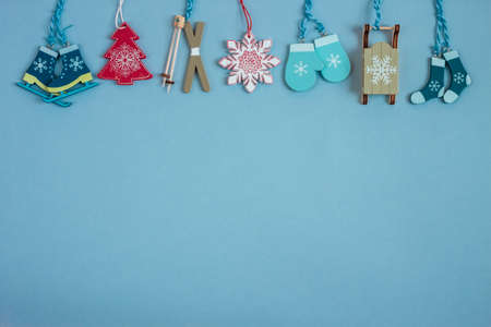 christmass decoration on blue paper craft background. Copy space Stock Photo