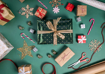 flat lay with christmas gifts and festive decoration Stock Photo