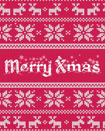Beautiful Christmas greeting card with fair isle knitted pattern . Vector pattern background.