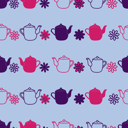 Purple Teapot flower seamless pattern background. Perfect for scrap booking,, fabric, and wallpaper projects Vecteurs