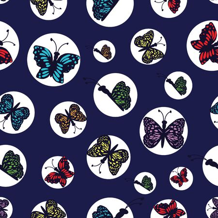 Hand drawn multi colored butterflies arranged in white circles on a dark blue background.Perfect for scrap booking , fashion and home decor projects. Surface pattern design.