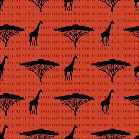 Beautiful hand drawn seamless pattern background created from giraffes and Acacia tree silhouettes. Perfect for stationary, textile and home decor projects.