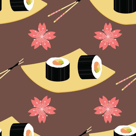Cute japanese food and elements inspired seamless pattern background