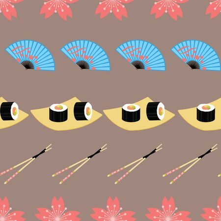 Cute japanese food and elements inspired seamless pattern background .