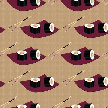 Cute japanese food inspired seamless pattern background . Illustration