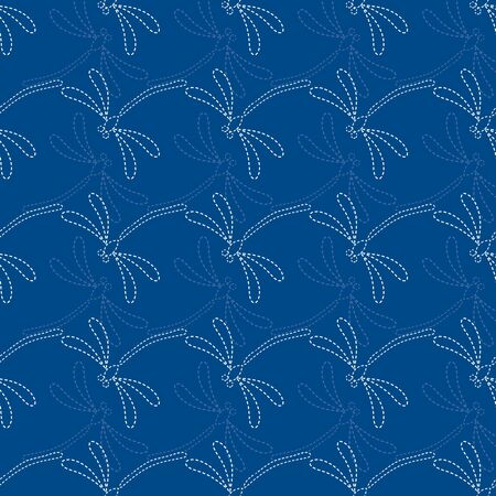 Seamless vector pattern background with dragonflies in japanese embroidery style. Ilustração